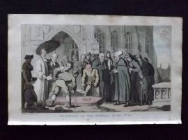 Rowlandson Doctor Syntax 1820 HCol Print. Dr. Syntax at the Funeral of His Wife